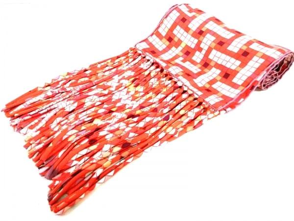 HERMES(エルメス) ストール(ショール)新品同様  オレンジ×白×マルチ シルク