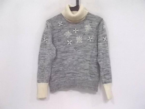 Leilian(レリアン) 長袖セーター サイズ9 M レディース美品  グレー×アイボリー