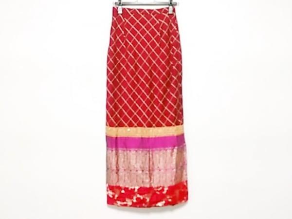 ケイタマルヤマ ロングスカート サイズM レディース レッド ビーズ/刺繍
