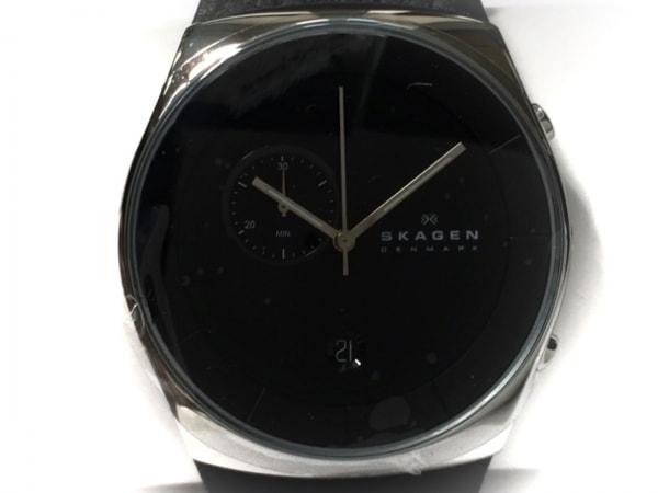 SKAGEN(スカーゲン) 腕時計美品  SKW6070 メンズ 革ベルト 黒