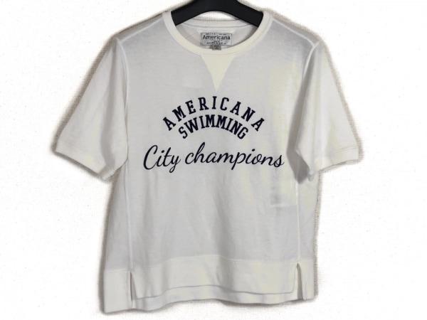 AMERICANA(アメリカーナ) 半袖Tシャツ レディース 白×ネイビー