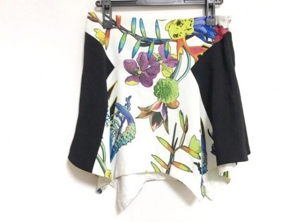 ジャストカヴァリ ミニスカート サイズ40 M レディース 白×黒×マルチ 花柄