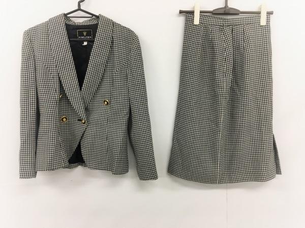 キミジマ スカートスーツ サイズ9 M レディース 黒×白 千鳥格子/BOUTIQUE/リボン