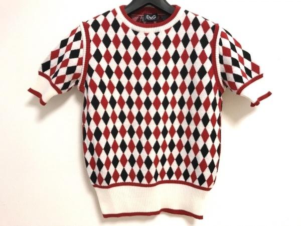 D&G(ディーアンドジー) 半袖セーター レディース 白×レッド×黒 チェック柄