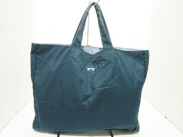 ファミリア トートバッグ ダークネイビー×ライトブルー フラワー/リボン/刺繍