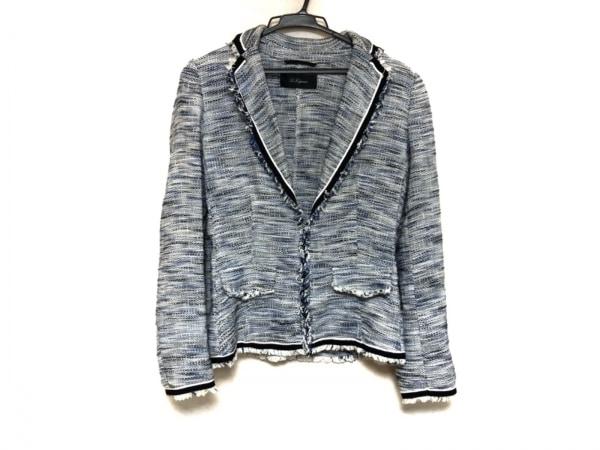 レコパン ジャケット サイズ42 L レディース美品  ブルー×白×ネイビー 肩パッド