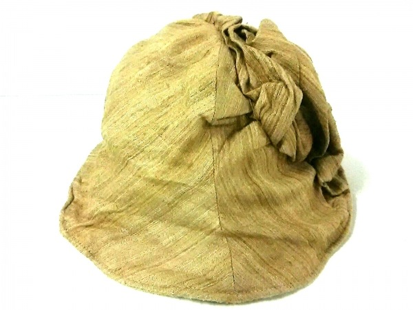 CA4LA(カシラ) 帽子美品  ライトブラウン シルク