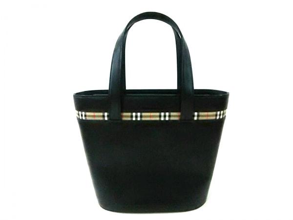 バーバリー トートバッグ美品  黒×ベージュ×マルチ チェック柄 レザー×ジャガード