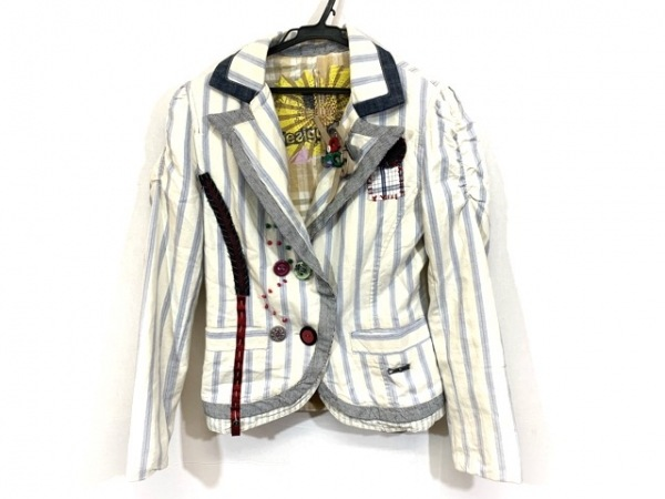 デシグアル ジャケット サイズ38 L レディース アイボリー×ライトブルー×マルチ
