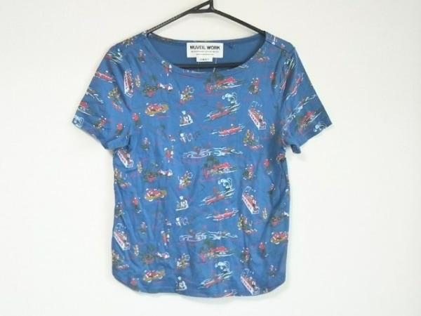 ミュベールワーク 半袖Tシャツ サイズ38 M レディース美品  ブルー×カーキ×レッド