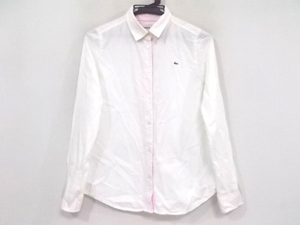 Lacoste(ラコステ) 長袖シャツブラウス サイズ38 M レディース 白×ピンク