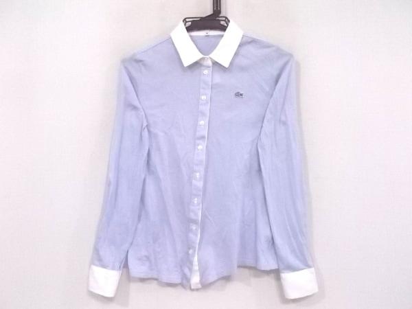 Lacoste(ラコステ) 長袖シャツブラウス サイズ38 M レディース美品  ライトブルー×白