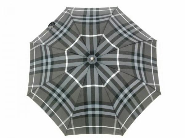 バーバリー 傘美品  - - グレー×黒×マルチ 晴雨兼用傘/チェック柄 化学繊維