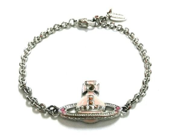 ヴィヴィアンウエストウッド ブレスレット美品  金属素材 シルバー×ピンク オーブ