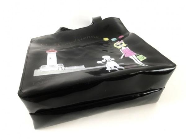 LADUREE(ラデュレ) トートバッグ 黒×マルチ PVC(塩化ビニール)
