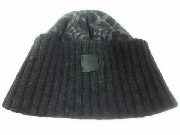 LOUIS VUITTON(ルイヴィトン) ニット帽 ダークグレー×グレー カシミヤ
