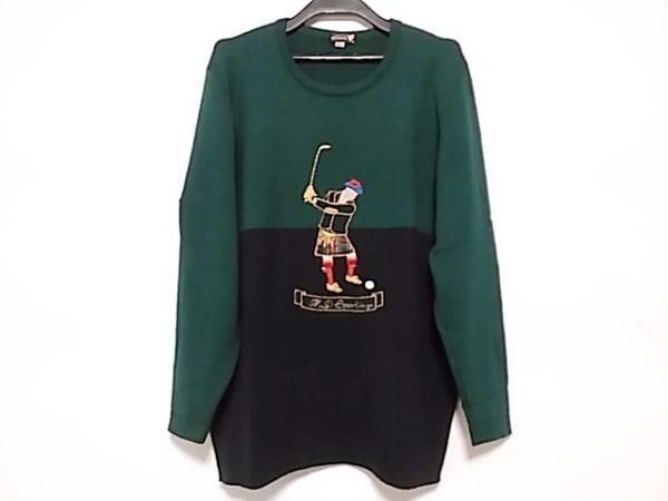 マックデイビッド 長袖セーター サイズM レディース グリーン×ダークネイビー 刺繍