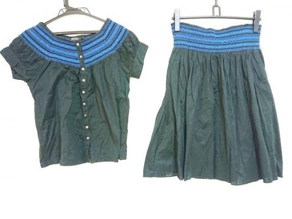 DKNY(ダナキャラン) スカートセットアップ サイズS レディース 黒×ブルー 刺繍