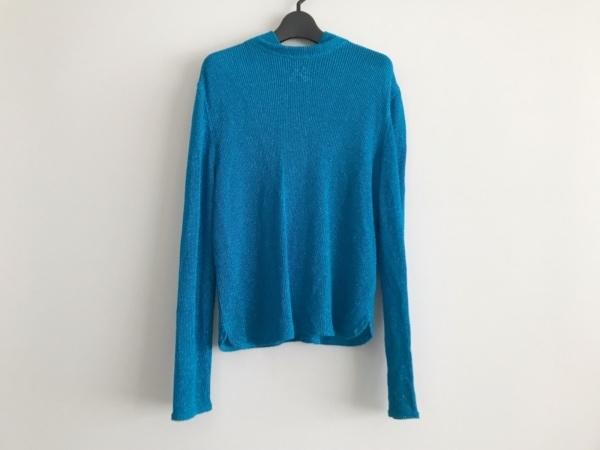 イタリヤ 長袖セーター サイズ11 M レディース美品  ライトブルー ハイネック/ラメ