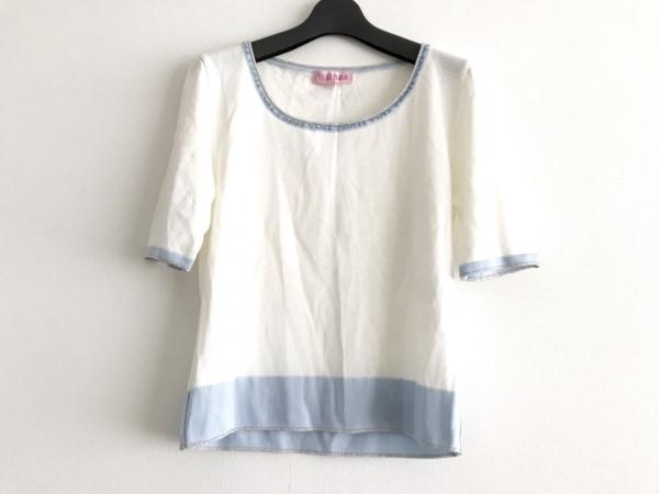 ユキトリイ 半袖セーター サイズM レディース美品  白×ライトブルー×シルバー ラメ