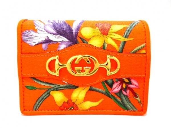 グッチ 2つ折り財布新品同様  Gホースビット 536353 オレンジ×グリーン×マルチ 花柄