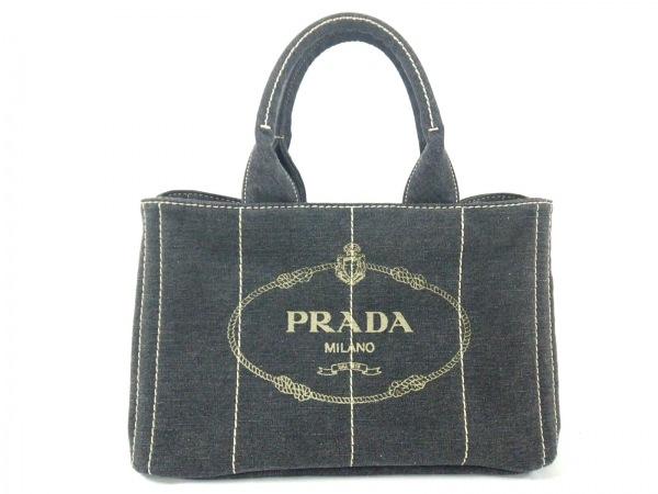 PRADA(プラダ) トートバッグ美品  CANAPA ダークグレー×ベージュ デニム