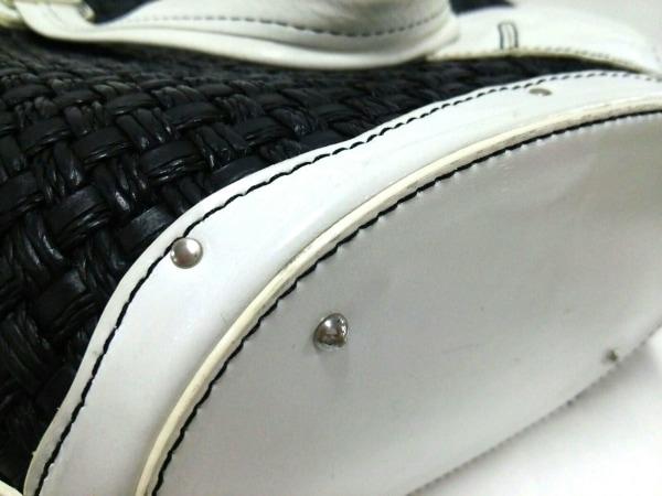 GINZA Kanematsu(ギンザカネマツ) ハンドバッグ 黒×白 ストロー×レザー