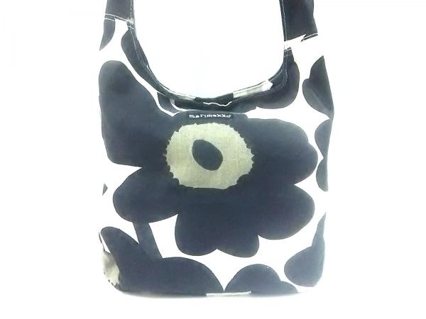 marimekko(マリメッコ) ショルダーバッグ 白×黒×ダークグレー 花柄 キャンバス