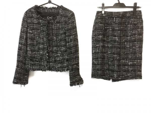 クードシャンス スカートスーツ サイズ38 M レディース 黒×アイボリー×ダークグレー