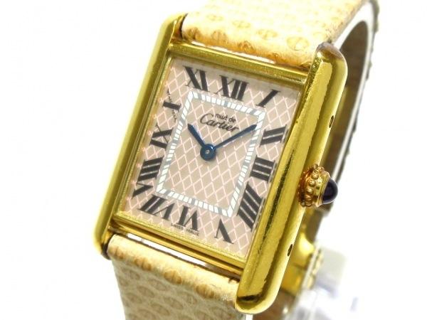 カルティエ 腕時計 タンクアクアリーノ W1018687 レディース 925×リザードベルト