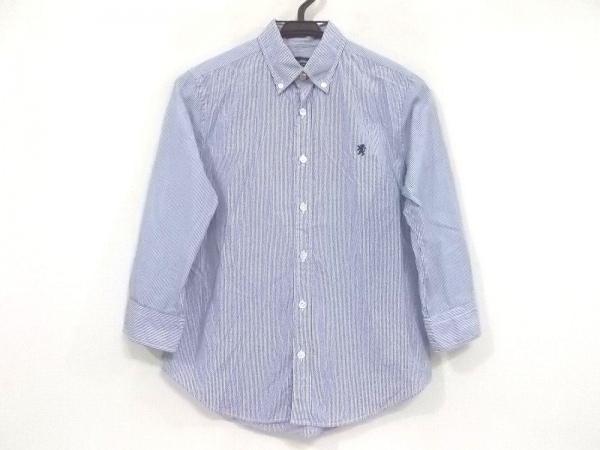 ジムフレックス 七分袖シャツブラウス サイズ12 L レディース美品  ネイビー×白