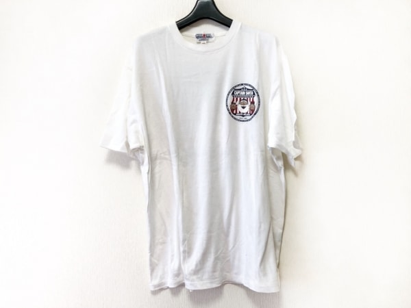 キャプテンサンタ 半袖Tシャツ サイズL メンズ 白×ダークネイビー×レッド