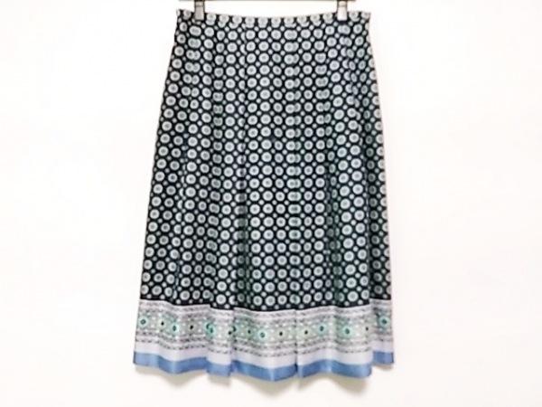 ダックス スカート サイズ42 XL レディース美品  ネイビー×ライトグリーン×マルチ