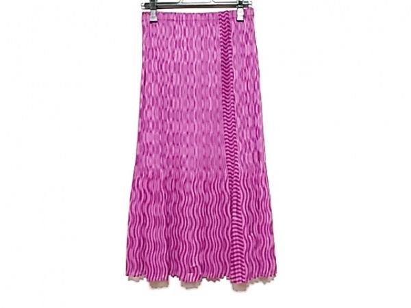 プリーツプリーズ ロングスカート サイズ2 M レディース美品  ピンク×パープル