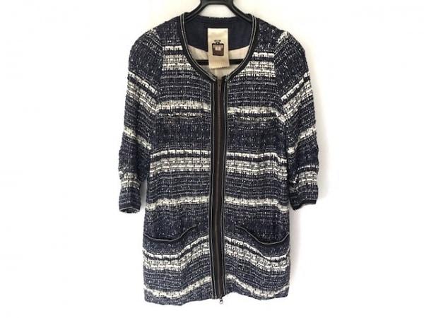 ラウンジドレス コート サイズ38 M レディース ネイビー×白×黒 ツイード/春・秋物