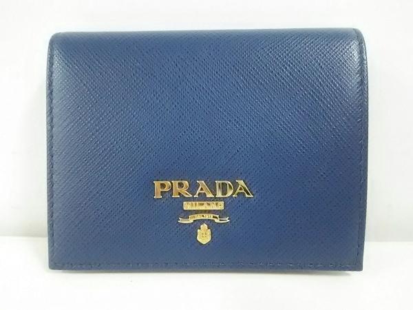 PRADA(プラダ) 2つ折り財布美品  - 1MV204 ネイビー レザー