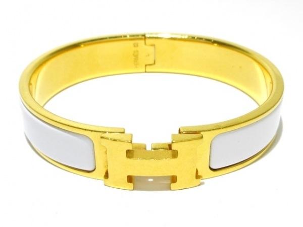 エルメス バングル美品  クリッククラック 金属素材×プラスチック ゴールド×白