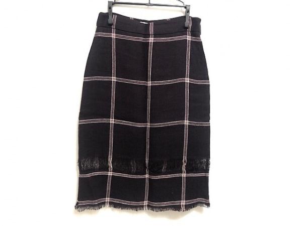 エムエスジィエム スカート サイズ38 M レディース美品  ダークブラウン×白×ピンク