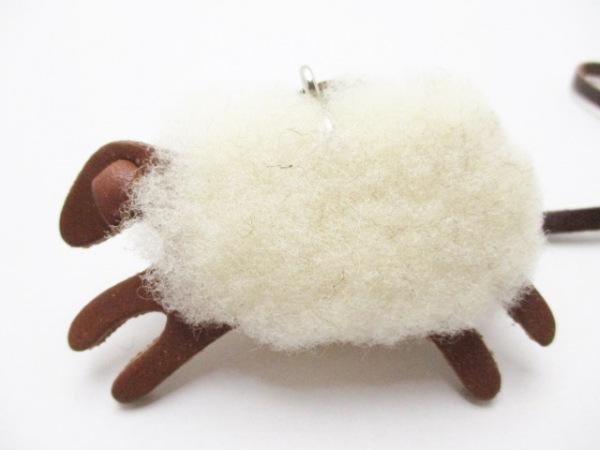 genten(ゲンテン) キーホルダー(チャーム) ブラウン×アイボリー 羊 レザー×ウール