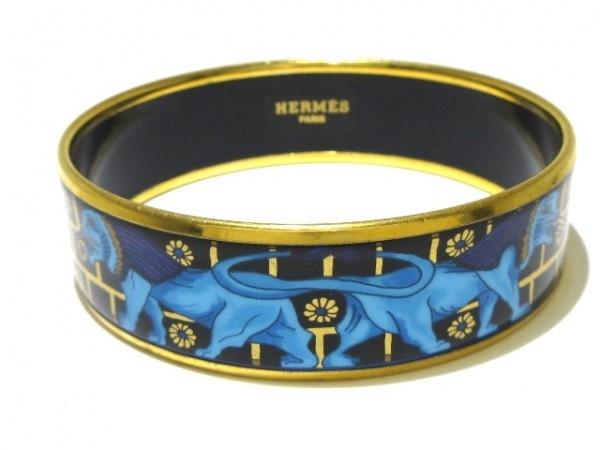 HERMES(エルメス) バングル美品  エマイユ 金属素材 ネイビー×ゴールド×マルチ