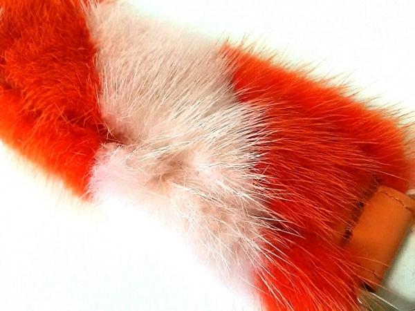 フェンディ ストラップ美品  ミニストラップユー オレンジ×ピンク ミンク×レザー