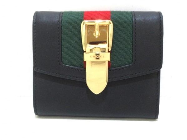 グッチ 3つ折り財布新品同様  シルヴィ/シェリー 476081 黒×グリーン×レッド レザー