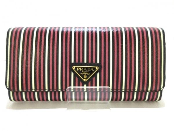 プラダ 長財布新品同様  - 1M1132 ピンク×白×黒 ストライプ サフィアーノレザー