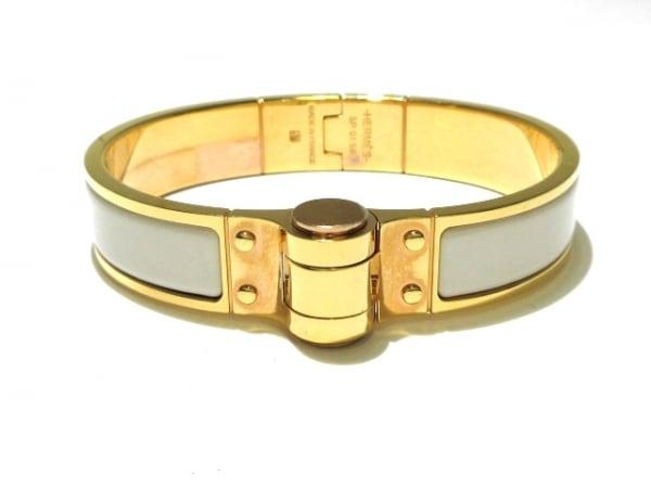 HERMES(エルメス) バングル新品同様  シャルニエール 金属素材 アイボリー×ゴールド