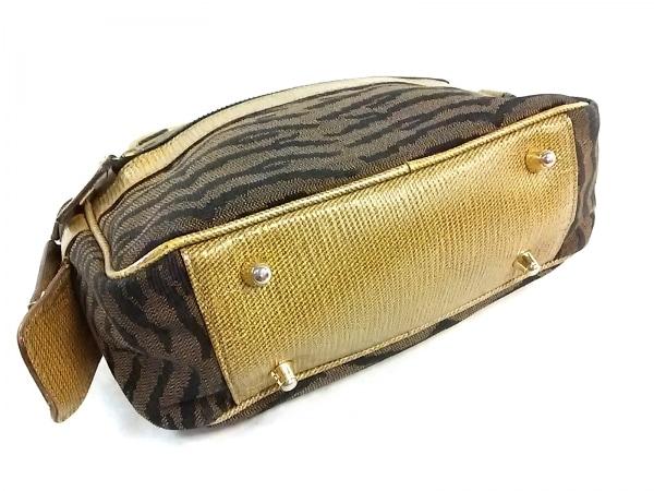 フェンディ ハンドバッグ - - ライトブラウン×黒×ベージュ ジャガード×レザー
