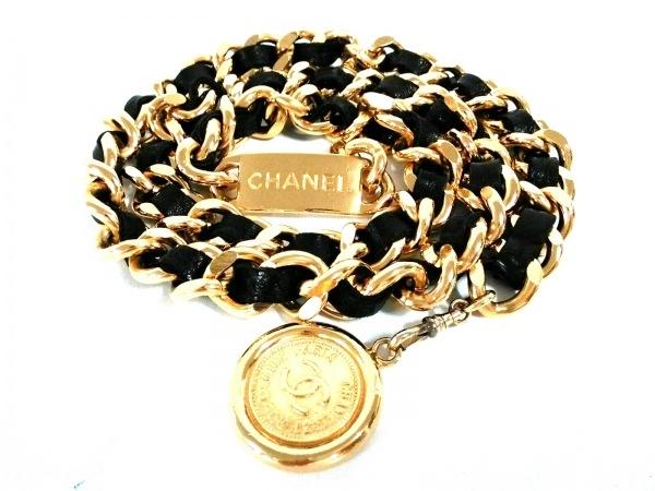 CHANEL(シャネル) ベルト ゴールド×黒 チェーンベルト/ココマーク 金属素材×レザー