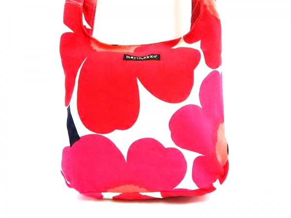 marimekko(マリメッコ) ショルダーバッグ ピンク×白×マルチ 花柄 キャンバス