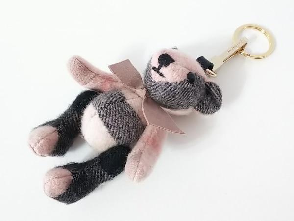 バーバリー キーホルダー(チャーム)美品  トーマスベア ピンク×黒 チェック柄