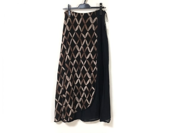 EIKO KONDO(エイココンドウ) ロングスカート レディース美品  黒×ブラウン×白