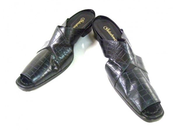 ガラアーベント サンダル M メンズ美品  黒 アウトソール張替済/型押し加工 レザー